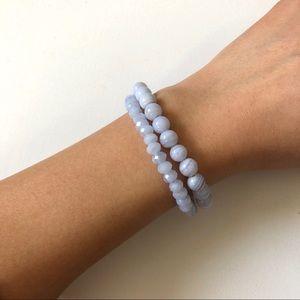 2 Blue Agate Gemstone Stretch Bracelets